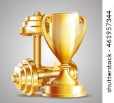 gold cup with golden realistic... | Shutterstock .eps vector #461957344