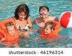 two little girls bathing in... | Shutterstock . vector #46196314