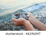 Handful Of Stones In Hands ...