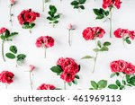 red roses on white background.... | Shutterstock . vector #461969113