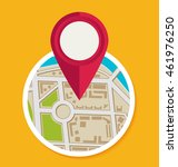flat map with pin. vector map... | Shutterstock .eps vector #461976250