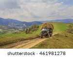 old truck loaded with hay rides ... | Shutterstock . vector #461981278