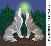 two wolves howling at the moon | Shutterstock .eps vector #461991673