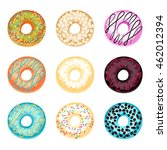 set of donuts isolated on a...   Shutterstock .eps vector #462012394
