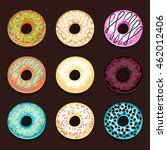 set of donuts isolated on a... | Shutterstock .eps vector #462012406