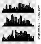set of vector cities silhouette.... | Shutterstock .eps vector #462021094