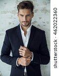 portrait of sexy man in black... | Shutterstock . vector #462022360