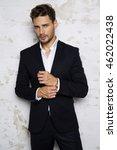 portrait of sexy man in black... | Shutterstock . vector #462022438