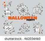 vector set of kawaii halloween... | Shutterstock .eps vector #462036460