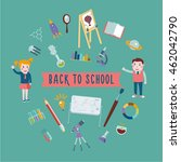back to school. student with... | Shutterstock .eps vector #462042790