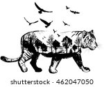 Vector Double Exposure  Tiger...