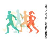 running marathon illustration | Shutterstock .eps vector #462072283