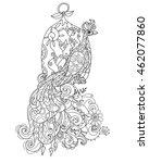 zen art stylized peacock with... | Shutterstock .eps vector #462077860