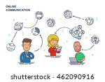 social media communication thin ... | Shutterstock .eps vector #462090916