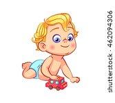 cartoon blond little baby boy... | Shutterstock .eps vector #462094306