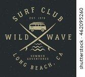 surfing tee design in vintage... | Shutterstock .eps vector #462095260