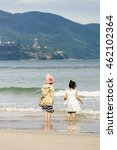 small girls on the china beach... | Shutterstock . vector #462102364
