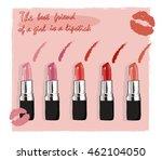 lipstick red fashion beauty...   Shutterstock .eps vector #462104050