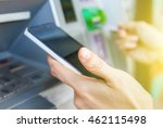holding the phone with mobile... | Shutterstock . vector #462115498