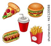 collection of junk food  vector ... | Shutterstock .eps vector #462120088