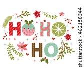 christmas wreath with ho ho ho... | Shutterstock .eps vector #462158344