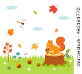 autumn time  in forest. cute... | Shutterstock .eps vector #462161770