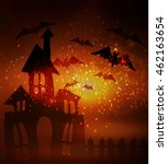 halloween haunted house with... | Shutterstock .eps vector #462163654