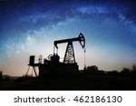 silhouette of oil pump on the... | Shutterstock . vector #462186130