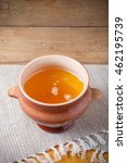 clay pot with ghee and spoon on ... | Shutterstock . vector #462195739