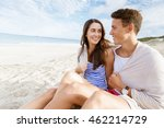 romantic young couple sitting... | Shutterstock . vector #462214729
