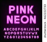 pink neon tube alphabet font.... | Shutterstock .eps vector #462222733