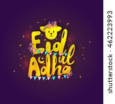 stylish yellow text eid ul adha ... | Shutterstock .eps vector #462223993
