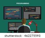 programming concept. man is... | Shutterstock .eps vector #462275593