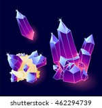 magic crystals blue  purple...