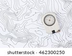 compass on topographic map. | Shutterstock . vector #462300250