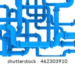 3d illustration of blue pipes system - stock photo