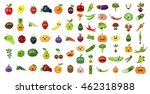 vegetables and fruits faces set....