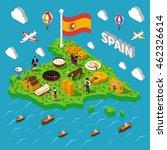 touristic spain isometric map... | Shutterstock .eps vector #462326614