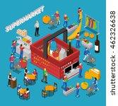 supermarket isometric concept...   Shutterstock .eps vector #462326638
