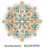 mandala brooch jewelry  design... | Shutterstock .eps vector #462343990