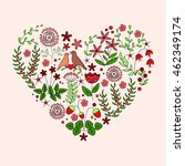 heart shape card with flowers ... | Shutterstock .eps vector #462349174