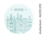 amsterdam old town houses... | Shutterstock .eps vector #462351190