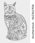 cat zentangle by hand drawing... | Shutterstock .eps vector #462361906