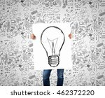 man presenting idea . mixed... | Shutterstock . vector #462372220