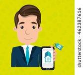 man house smartphone rent... | Shutterstock .eps vector #462387616