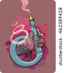 hand with a hookah  pink smok.... | Shutterstock .eps vector #462389428