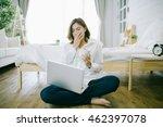 tired sleepy woman yawning ... | Shutterstock . vector #462397078