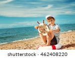 seven years old boy playing at... | Shutterstock . vector #462408220