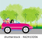girl in a pink convertible with ... | Shutterstock . vector #462413206