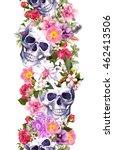 Human Skulls With Flowers....